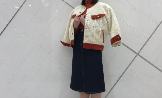 レディース☆ノーカラーボアジャケット