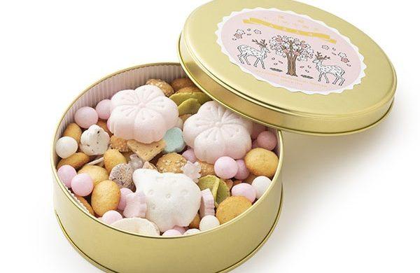 桜の吹き寄せお菓子缶